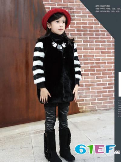 Lily-BaLou莉莉日记童装条纹儿童羊绒毛衣保暖衫百搭羊毛衫