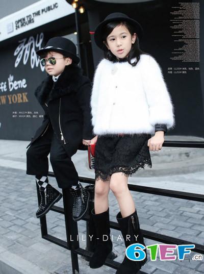 Lily-BaLou莉莉日记童装棉衣女孩毛毛大衣加绒棉服韩版儿童