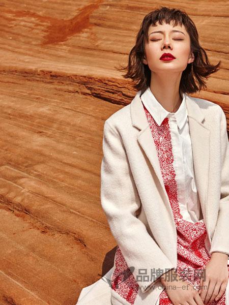 禾文阿思/印巴文化女装2018秋冬新款羊毛双面呢外套呢子长款简约毛呢大