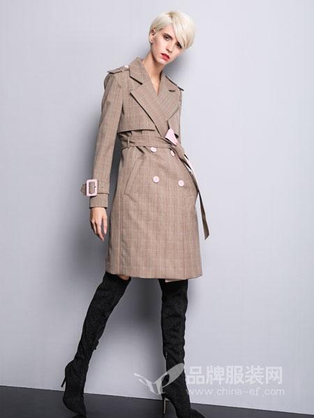 维斯提诺女装2018秋冬翻领格子长袖双排扣中长款风衣外套