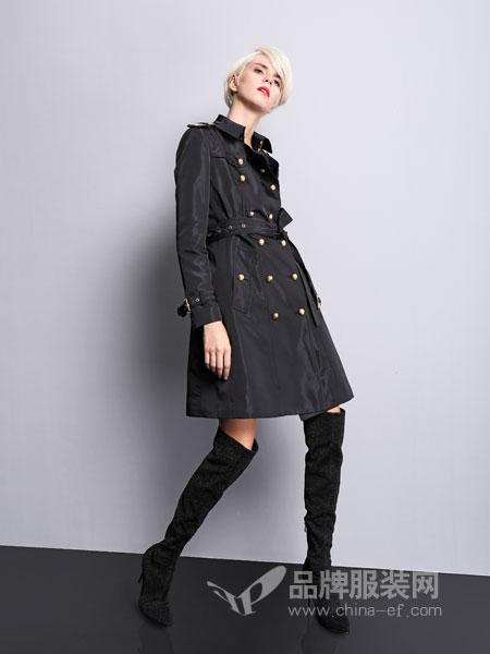 维斯提诺女装2018秋冬中长款修身显瘦大衣双排扣外套