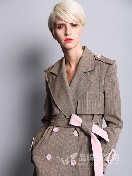 维斯提诺女装2018秋冬长款双排扣风衣外套