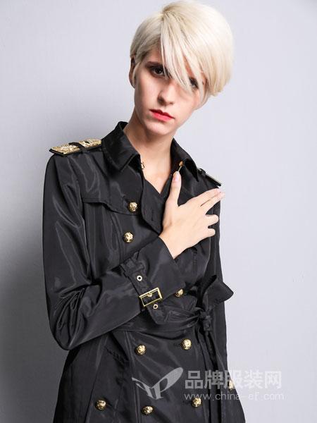 维斯提诺女装2018秋冬双排扣长袖中长款记忆丝防水风衣外套