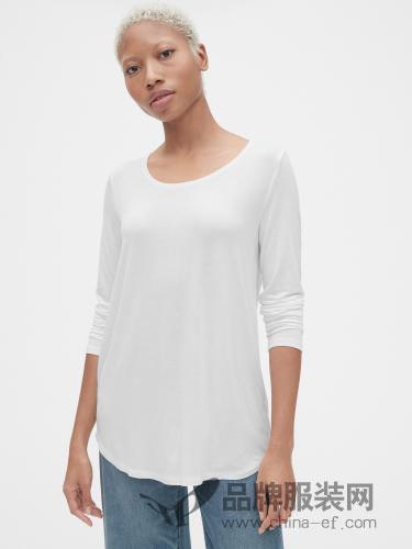 Gap女装2018秋冬白色奢华针织长袖T恤