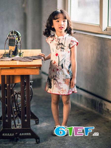 安蒂宝贝童装儿童中国风连衣裙粉色洋气公主裙