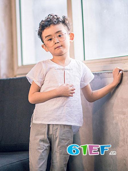 安蒂宝贝童装短袖复古中式改良汉服儿童民族风