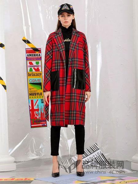维斯提诺女装2018秋冬中长款呢子外套韩版气质宽松潮