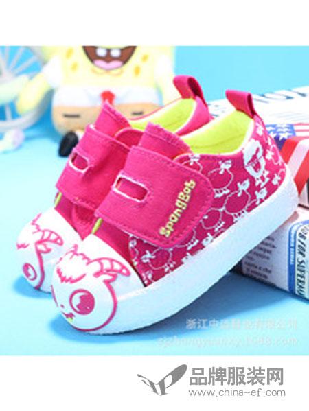 海绵宝宝童鞋粉色图案帆布鞋
