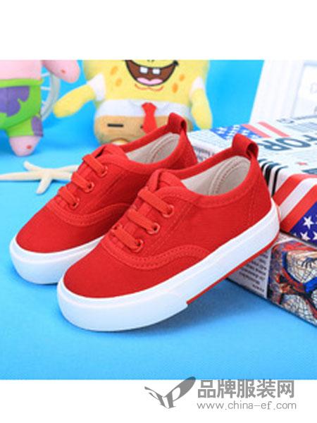 海绵宝宝童鞋红色帆布休闲童鞋
