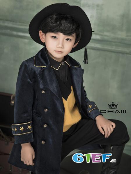 DHAiii东宫皇子童装2018秋冬长袖双排扣修身中长款外套