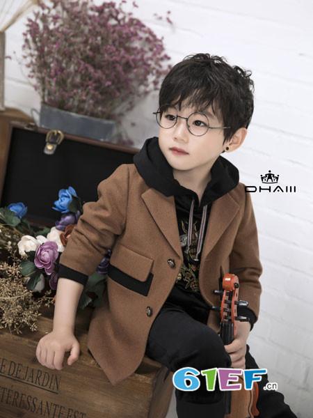 DHAiii东宫皇子童装2018秋冬儿童翻领单排扣大衣外套
