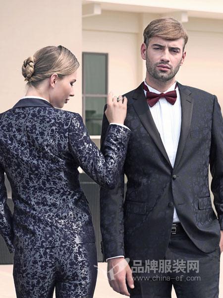 富绅男装2018秋冬羊毛单西服 时尚一粒扣上衣蓝色外套男