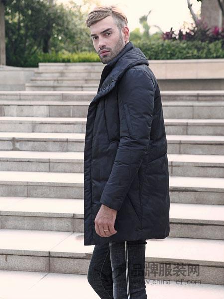 富绅男装2018秋冬修身黑色长款白鸭绒羽绒外套