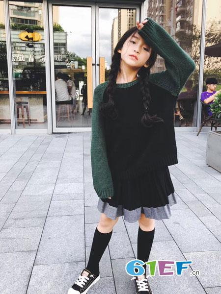贝尚BEBESTORY童装2018秋冬女童长袖连衣裙加绒加厚宽松不倒绒黑色打底裙