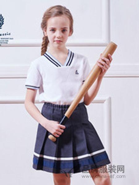 伊顿纪德校服短袖浅蓝色织格女童衬衫