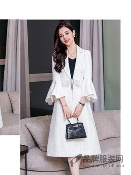 蔓图思女装2018冬季白色喇叭袖外套