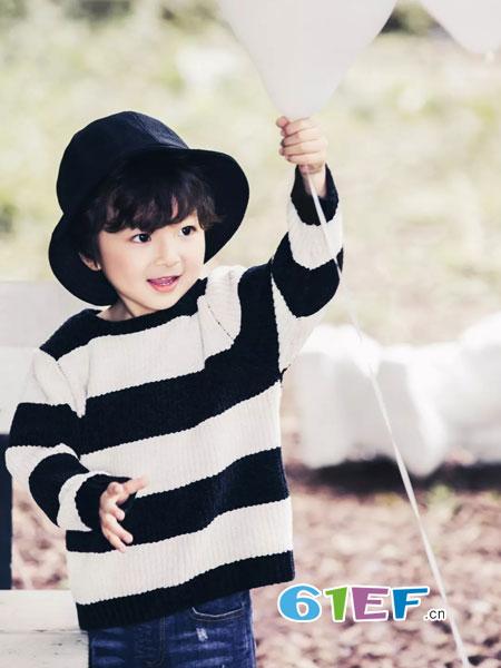 摩亚小作童装2018秋冬条纹百搭学院风毛衣兔绒毛线套头线衣