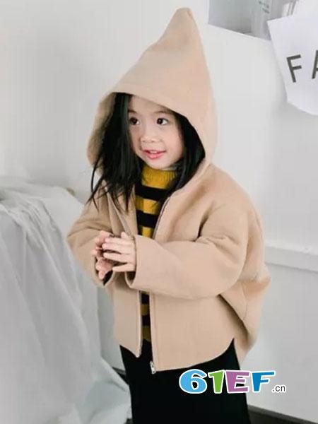 法语,第素童装2018秋冬女童针织衫 卡通提花 撞色毛衣开衫