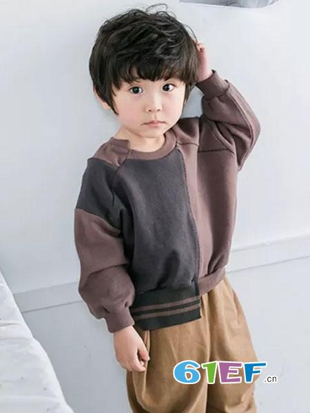法语,第素童装2018秋冬新款拼接款百搭撞色童装绒衫