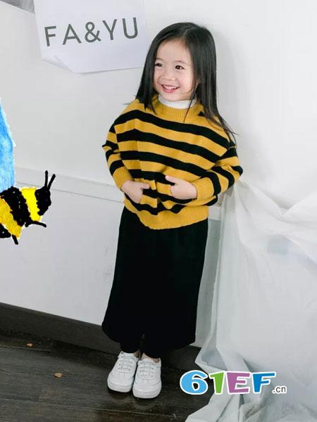 法语,第素童装2018秋冬清新简约百搭 中小童双色条纹破洞毛衣