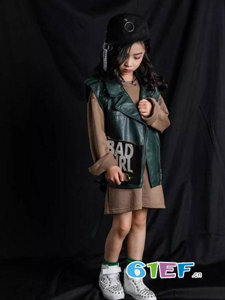 韩米娜风尚童装2018秋冬毛衣韩版中大童儿童牛仔拼接针织衫外套