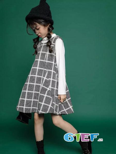 韩米娜风尚童装2018秋冬韩版女童格子翻领背心裙呢子裙