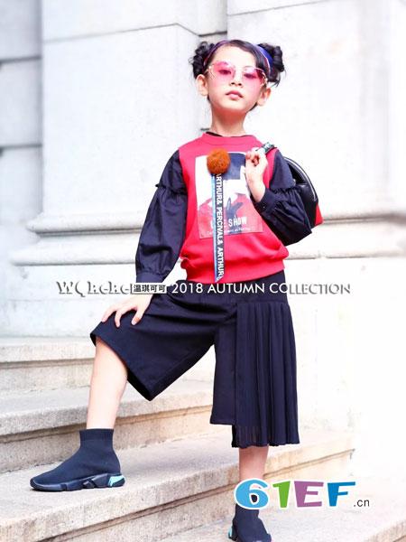 WQKEKE温琪可可童装2018秋冬女童时尚字母印花夹克衫 儿童外套