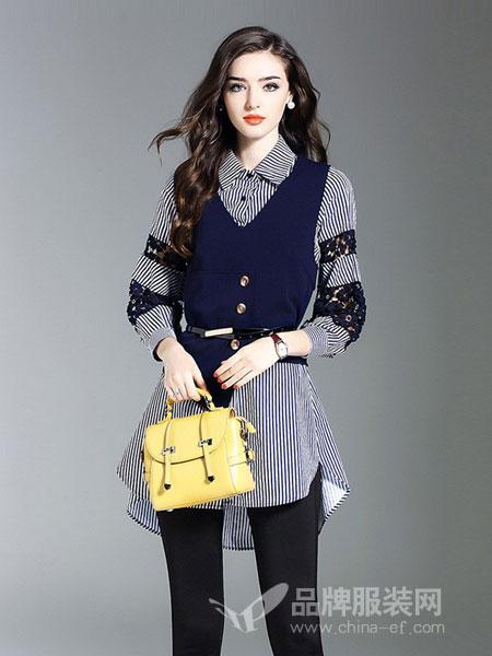 慕兰茜女装条纹假两件套