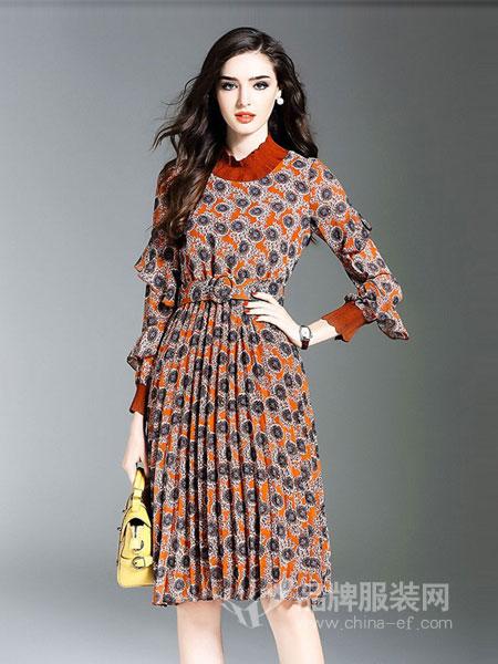 慕兰茜女装图案褶皱长裙