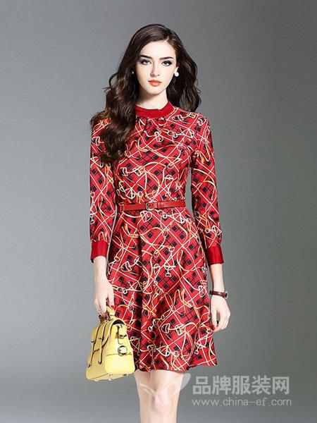 慕兰茜女装图案收腰连衣裙