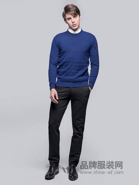 圣得西男装2018秋冬圆领毛衫青年男士针织衫纯色毛衣打底衫