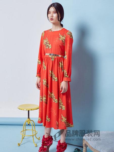 趙贝勒PRINCE ZHAO女装2018秋冬立领侧叉真丝修身衬衫款长连衣裙