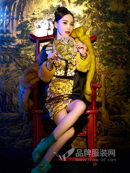 趙贝勒PRINCE ZHAO女装2018秋冬系领带长袖荷叶边压褶连衣裙