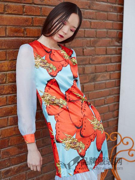 趙贝勒PRINCE ZHAO女装2018秋冬百褶修身优雅印花气质名媛长袖连衣裙
