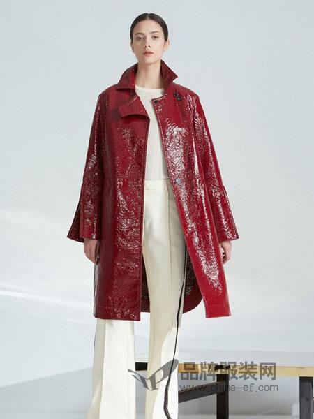 ZHUCHONGYUN女装2018秋冬新款马蹄袖,两侧开叉外套
