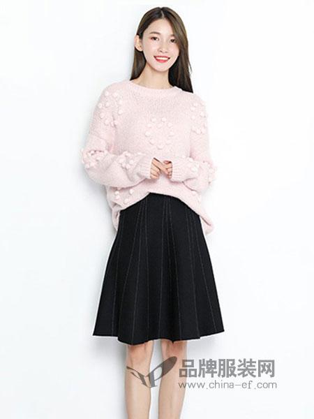 TR/BECA翠貝卡女裝2018秋冬新款毛衣甜美簡約立體球球套頭針織衫