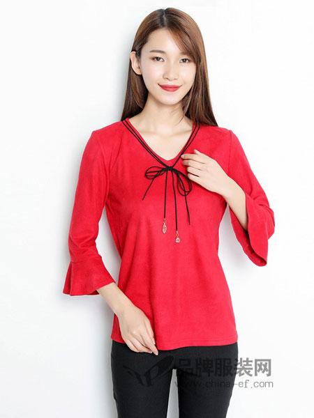 TR/BECA翠貝卡女裝2018秋冬新款時尚甜美七分喇叭袖襯衫