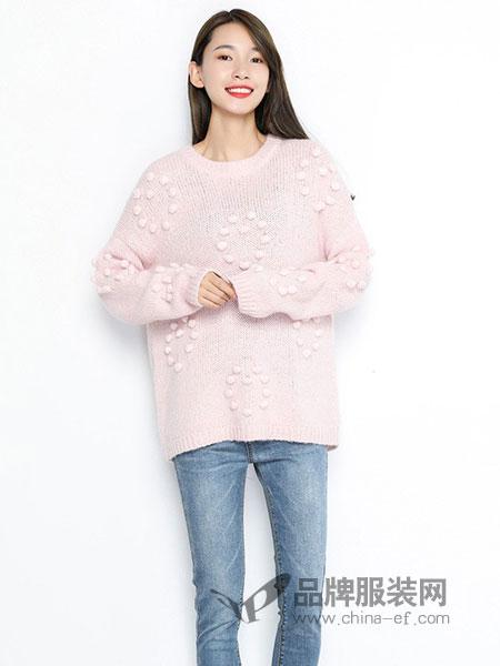 TR/BECA翠贝卡女装2018秋冬新款时尚球球可爱俏皮针织衫