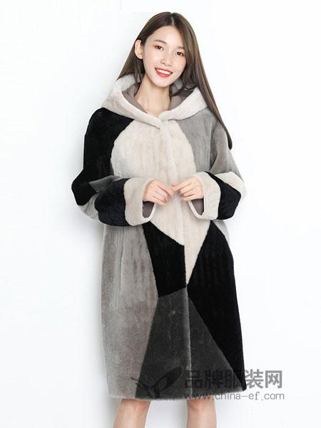 TR/BECA翠贝卡女装2018秋冬新款通勤拼色羊毛革中长款连帽皮衣外套