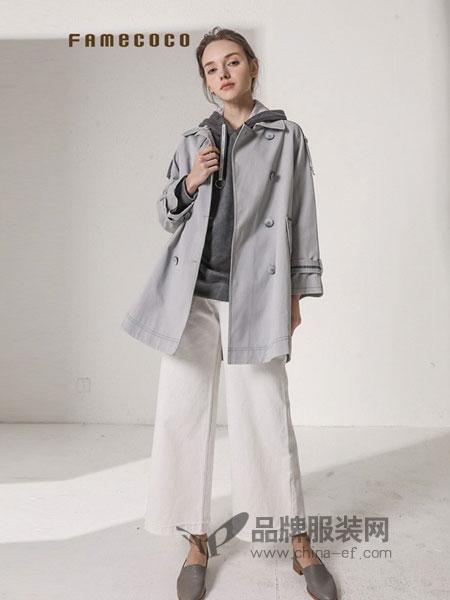 范可儿女装2018秋冬双排扣含腰带设计通勤风中长款风衣外套