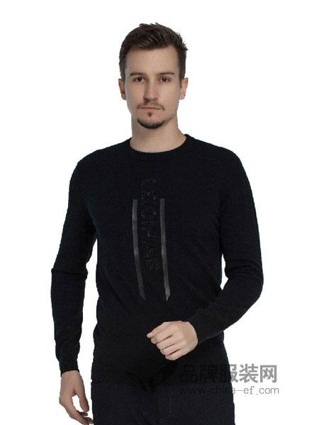 雷驰(LEICI)男装2018秋冬新品圆领长袖字母T恤卫衣