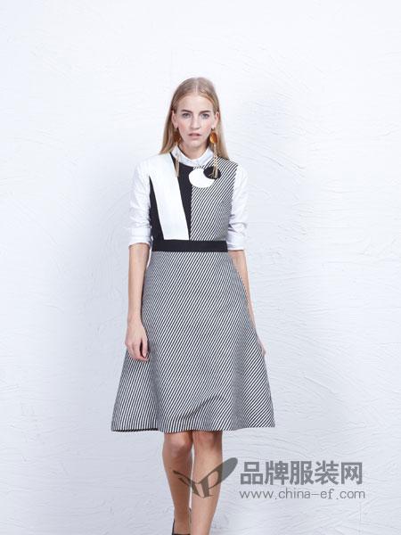 丹尼布鲁女装假两件收腰绣花连衣裙
