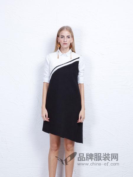丹尼布鲁女装黑白拼接荷叶边领修身显瘦连衣裙