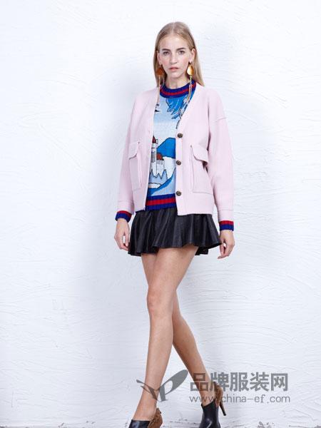 丹尼布鲁女装新款宽松显瘦百搭开衫毛衣V领纯色外搭