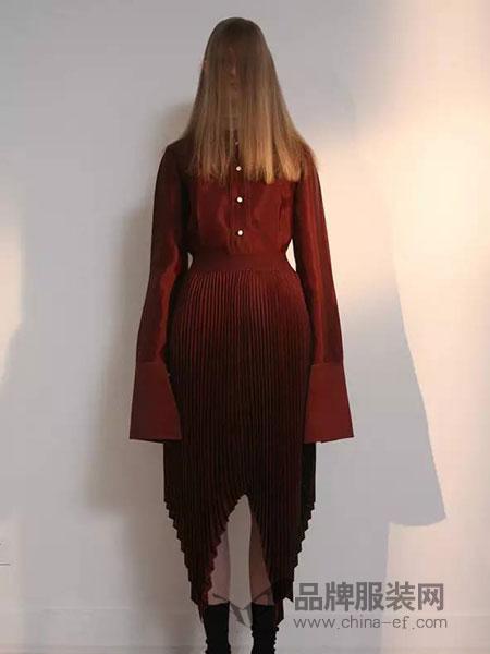 QIUHAO女装长袖不规则连衣裙