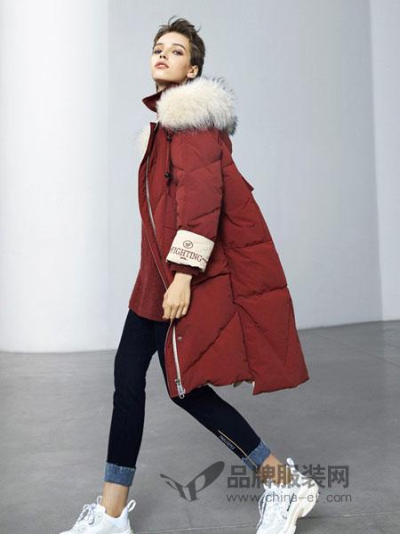 欧珂OLDCOLOUR女装2018秋冬新款连帽貉子大毛领羽绒外套加厚保暖
