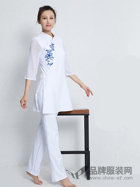 依琦莲女装2018秋冬图案专业白色瑜伽服套装荷叶边瑜伽服紧身瑜珈裤