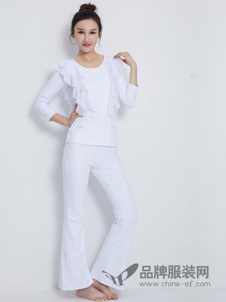 依琦莲女装2018秋冬专业白色瑜伽服套装花边瑜伽服紧身瑜珈裤