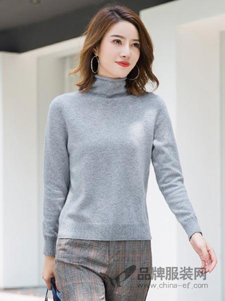 PURE LOVE女装2018秋冬高领针织衫