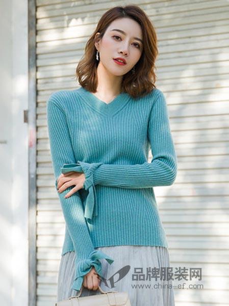 PURE LOVE女装2018秋冬V领针织衫